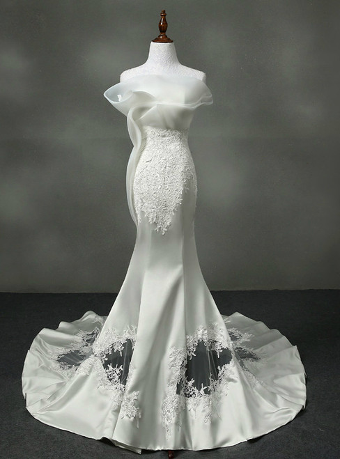 Charming Sexy Mermaid Wedding Dresses Real Photo Satin With Appliques