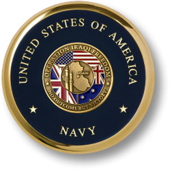 Navy Operation Iraqi Freedom Brass Coaster