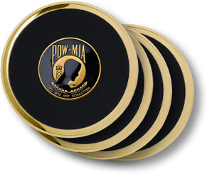 POW-MIA Brass 4 Coaster Set