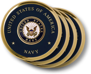 Navy Seal Brass 4 Coaster Set