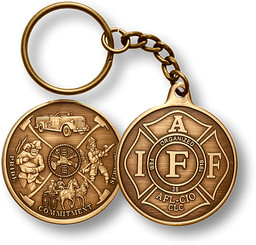 IAFF Bronze Antique Coin Key Chain