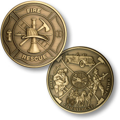 Maltese Cross - Fireman Theme Coin - Bronze Antique