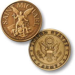 Saint Michael Coin - Army Bronze Antique