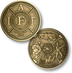 "IAFF - Fireman Theme 1 7/8"" Bronze Antique Coin"
