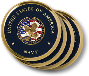 Navy Operation Enduring Freedom Brass 4 Coaster Set