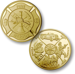 Maltese Cross - Fireman Theme Coin - MerlinGold®