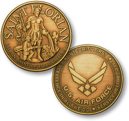 Saint Florian - USAF Emblem Bronze Antique Coin