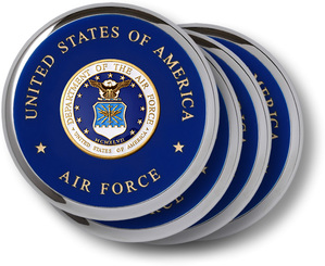 Air Force Seal Chrome 4 Coaster Set