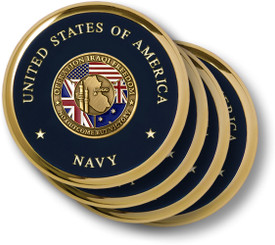 Navy Operation Iraqi Freedom Brass 4 Coaster Set