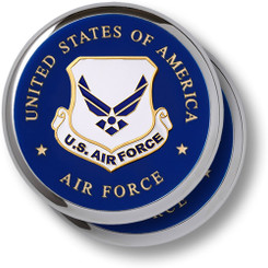 Air Force Emblem Chrome 2 Coaster Set