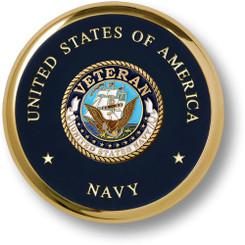 Navy Veteran Brass Coaster