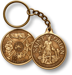 St. Florian Bronze Antique Key Chain Coin