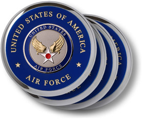 Air Force Hap Arnold Wing Chrome 4 Coaster Set