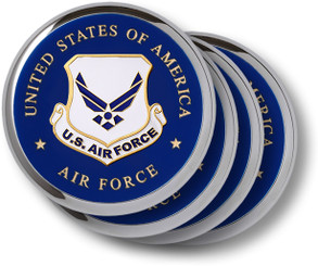 Air Force Emblem Chrome 4 Coaster Set