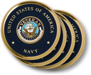 Navy Veteran Brass 4 Coaster Set