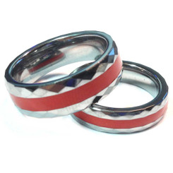 Tungsten Diamond Cut Red Line Brotherhood Band 5mm & 7mm width