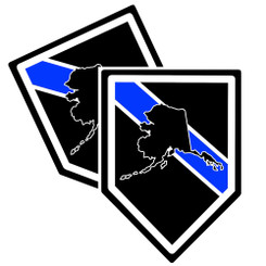 State of Alaska Thin Blue Line Police Decal (Sticker) - Pack of 2 Decals