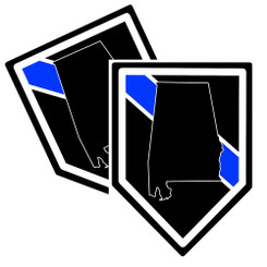 State of Alabama Thin Blue Line Police Decal (Sticker) - Pack of 2 Decals
