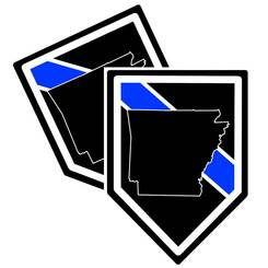 State of Arkansas Thin Blue Line Police Decal (Sticker) - Pack of 2 Decals