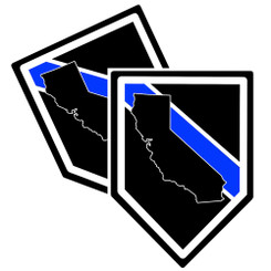 State of California Thin Blue Line Police Decal (Sticker) - Pack of 2 Decals