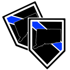State of Connecticut Thin Blue Line Police Decal (Sticker) - Pack of 2 Decals