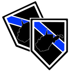 State of West Virginia Thin Blue Line Police Decal (Sticker) - Pack of 2 Decals