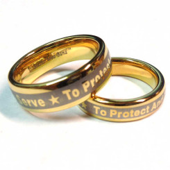 Gold Tungsten To Protect And To Serve Brotherhood Band 5 & 7mm width