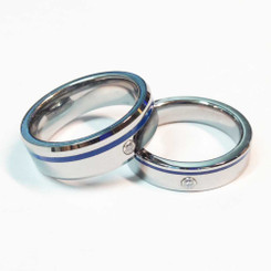 Tungsten Blue Line Brotherhood Band 5mm & 7mm width