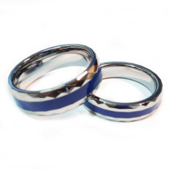 Tungsten Diamond Cut Blue Line Brotherhood Band 5mm & 7mm width