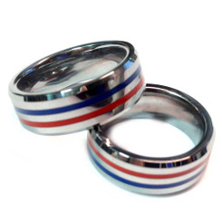 Tungsten Brotherhood Band - Thin Red & Blue Line Police & Fire Dual Duty Ring