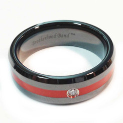 Ceramic Red Line Brotherhood Band 7mm width with Cubic Zirconia