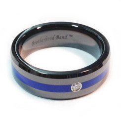 Ceramic Thin Blue Line Brotherhood Band 5mm & 7mm width with cubic zirconia