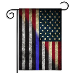 Red White & Blue American - Thin Blue Line Garden Flag