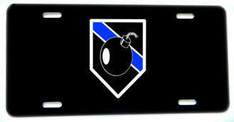 Old Bomb Squad Design Thin Blue Line Aluminum License plate