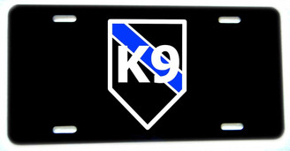 Thin Blue Line K9 Canine Aluminum License plate