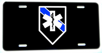Thin Blue Line EMS Star of Life Aluminum License plate
