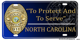 North Carolina Police Badge To Protect And To Serve License plate