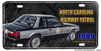 1989 Ford Mustang NC Highway Patrol Aluminum License plate