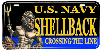 US Navy Golden Shellback Aluminum License Plate