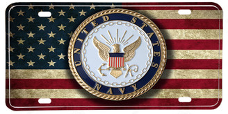 US Navy Emblem American Flag Aluminum License Plate