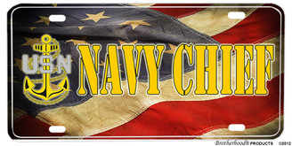 US Navy Chief Tested American Flag Aluminum License Plate