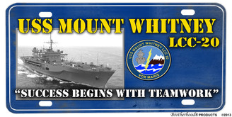 USS Mount Whitney Aluminum License Plate