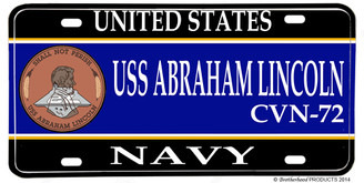 USS Abraham Lincoln CVN-72 Aluminum License Plate