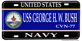 USS George H W Bush CVN-77 Aluminum License Plate
