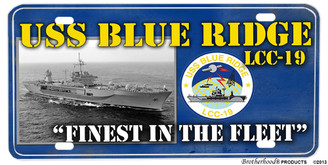 USS Blue Ridge LCC-19 Motto Aluminum License Plate