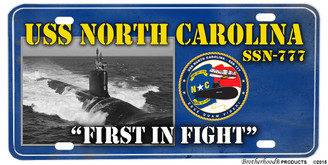USS North Carolina SSN-777 Motto Aluminum License Plate