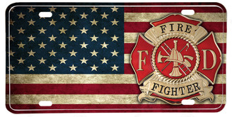 Distressed American Flag Firefighter Maltese Cross License plate