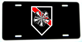 5 Crossed Horns Thin Red Line Fireman Chief Aluminum License plate