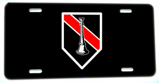 Thin Single Straight Horn Fireman Lieutenant Aluminum License plate