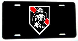 Thin Red Line Dalmation Dog Aluminum License plate